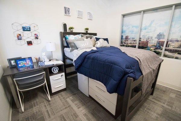 View inside a student dorm room at UnionWest
