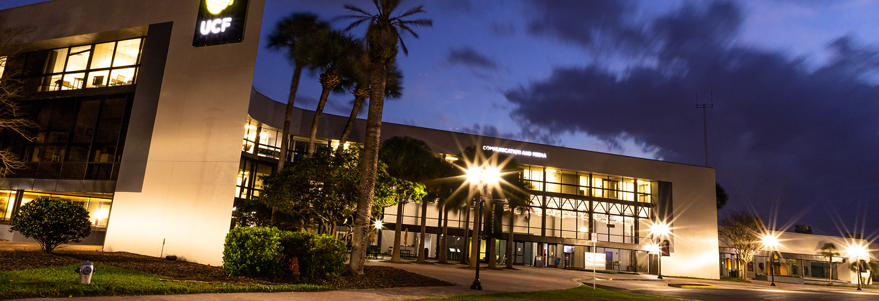 Exterior of CMB building at nightime